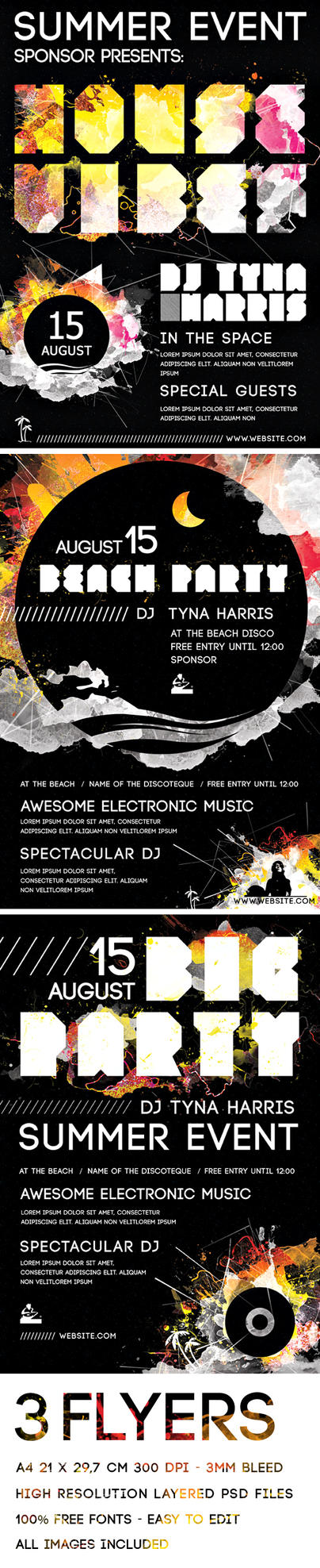 Music Party Dance Flyer PSD by Giallo86