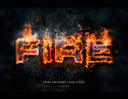 Fire photoshop text effect layer styles set