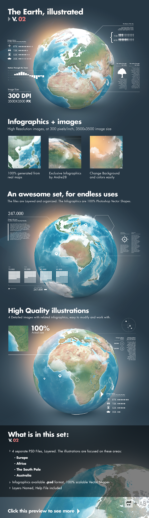 Earth Illustrated, 3D World and Infographics - V2 by Giallo86