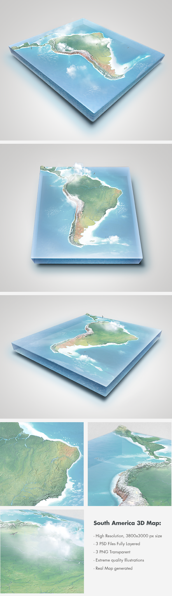 Realistic South America 3D Map - Layered by Giallo86