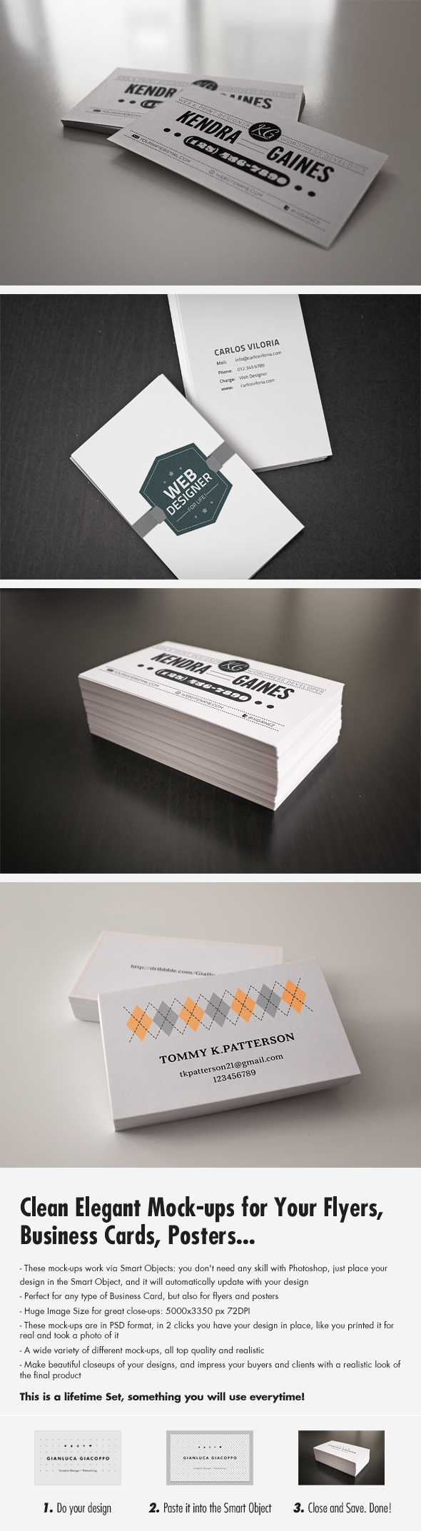 Flyer/Business Card Clean Realistic Mockups Set 1 by Giallo86
