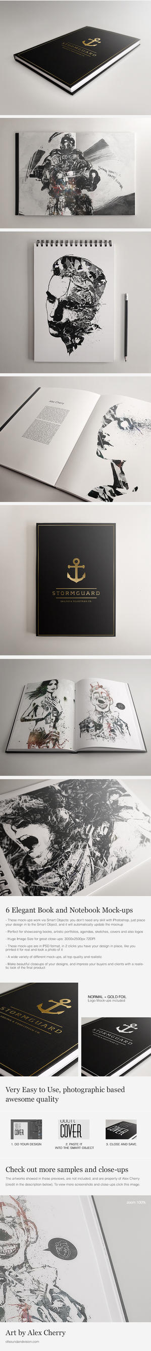 Book and Notebook Elegant Mock-ups by Giallo86