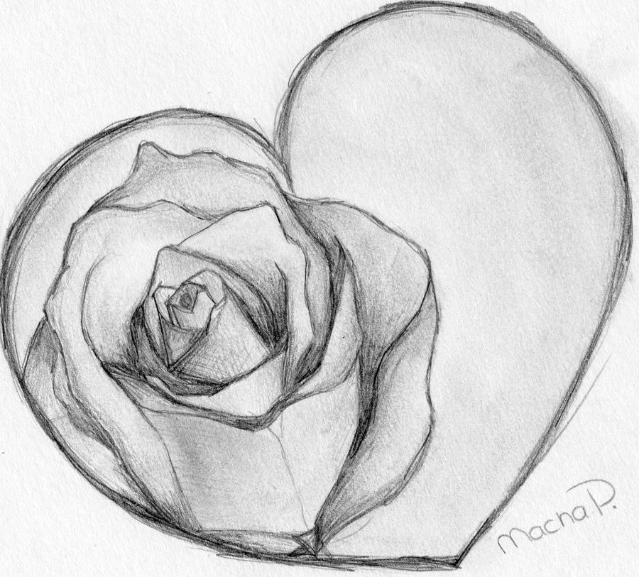 Pictures Of How To Draw A Heart With A Rose Wrapped Around It