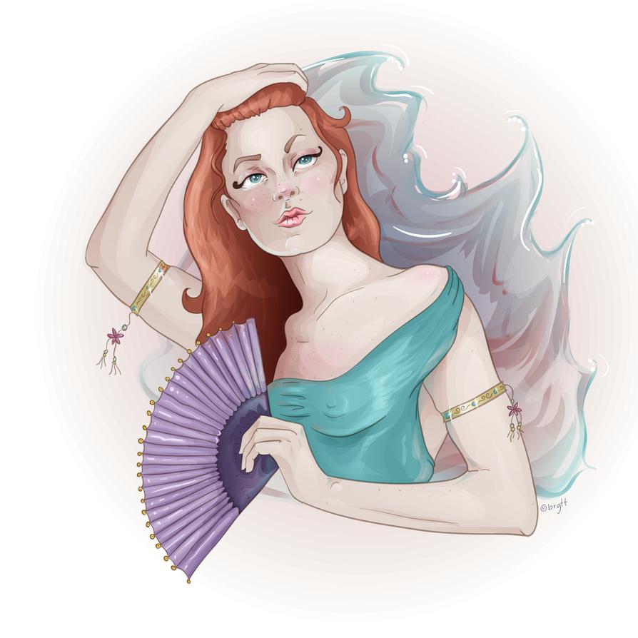 Girl with fan. by LineBirgitte