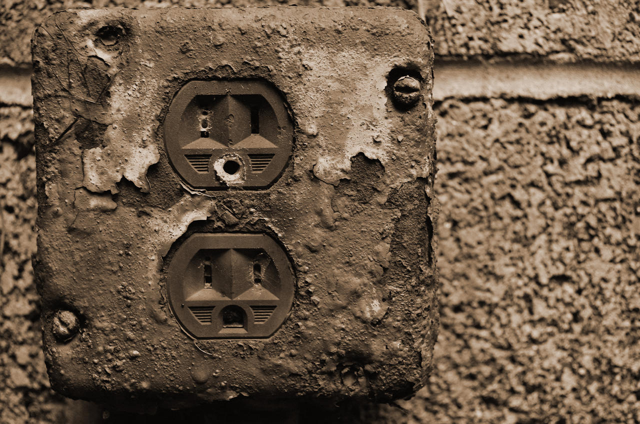 Rusted wall outlet by palisauskas on deviantart for Clearance wallpaper