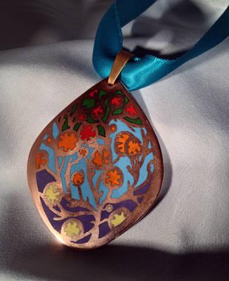 Jewelry: Pendant 002, 'Fiery Flowers, Evening Sky' by 4pplemoon