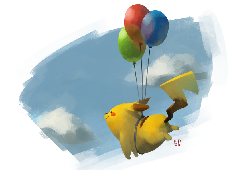 Flying Pikachu by sighlol