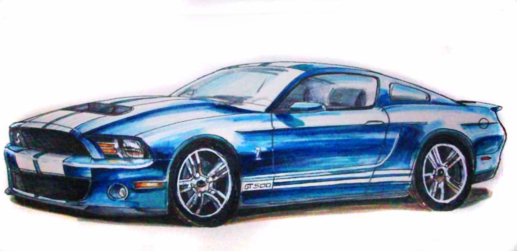 Mustang Logo Drawing Ford Mustang Drawing by