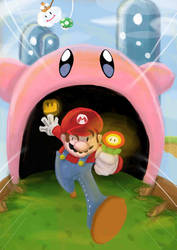 Mario vs Kirby by SInnY-Halo