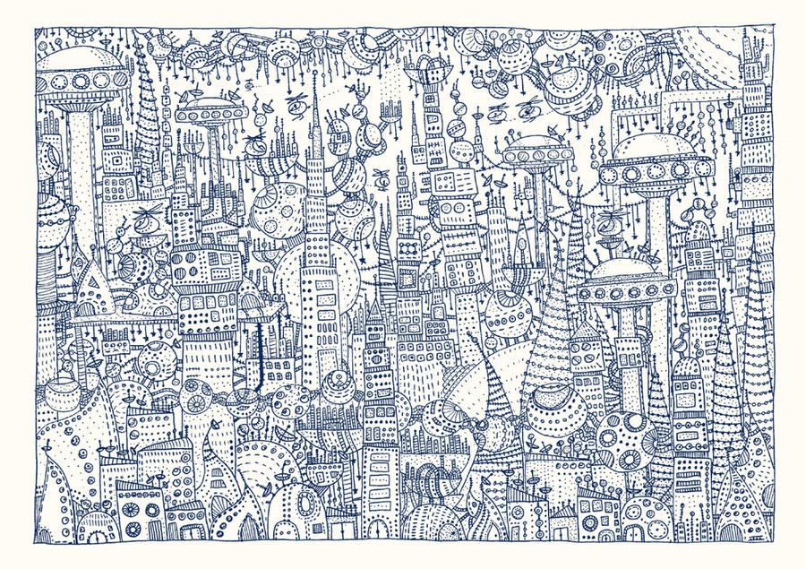 Futuristic City risograph by philippajudith