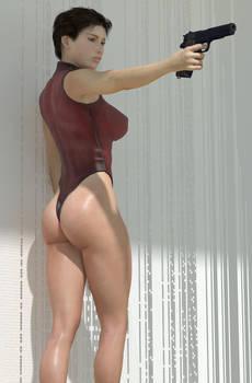 Girl, Swimming Costume, Semi-Automatic Pistol