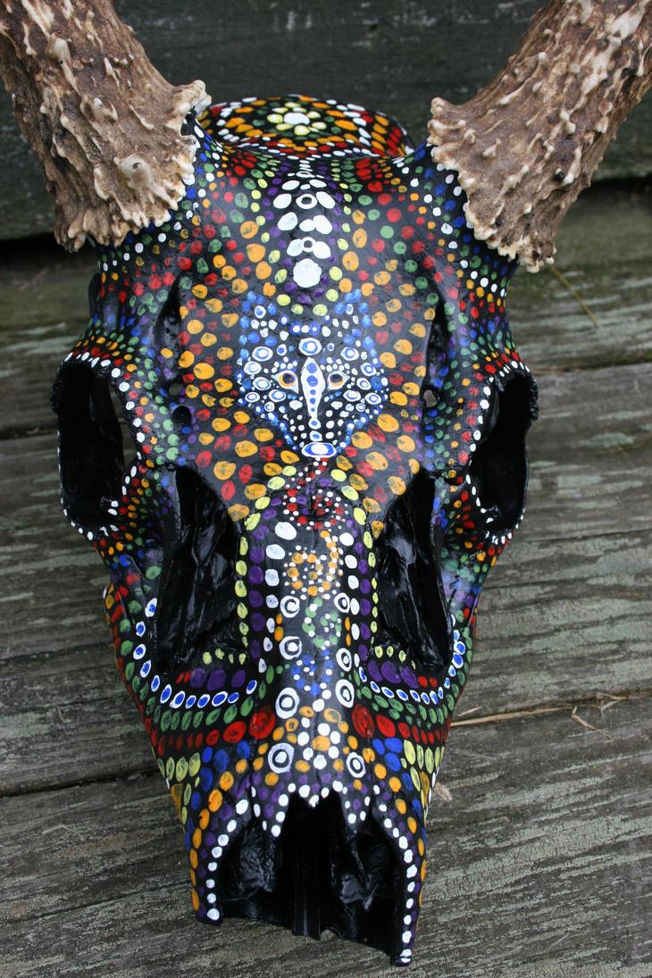 Hand Painted Deer Skulls