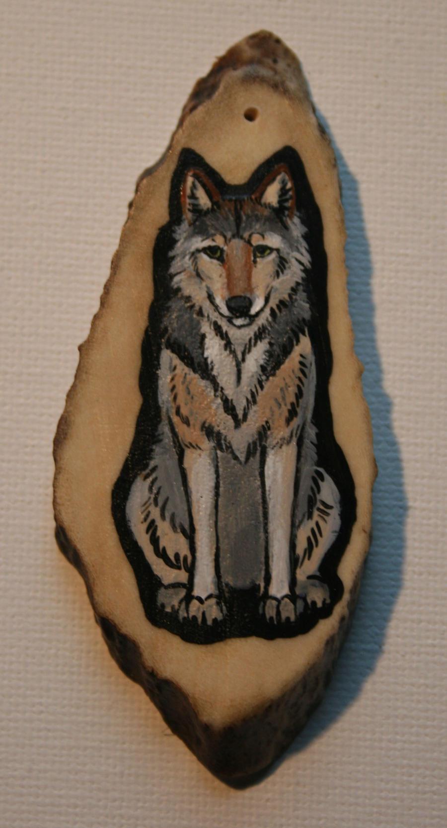 Wolf Sitting Antler Pendant by VeronicaRosejones