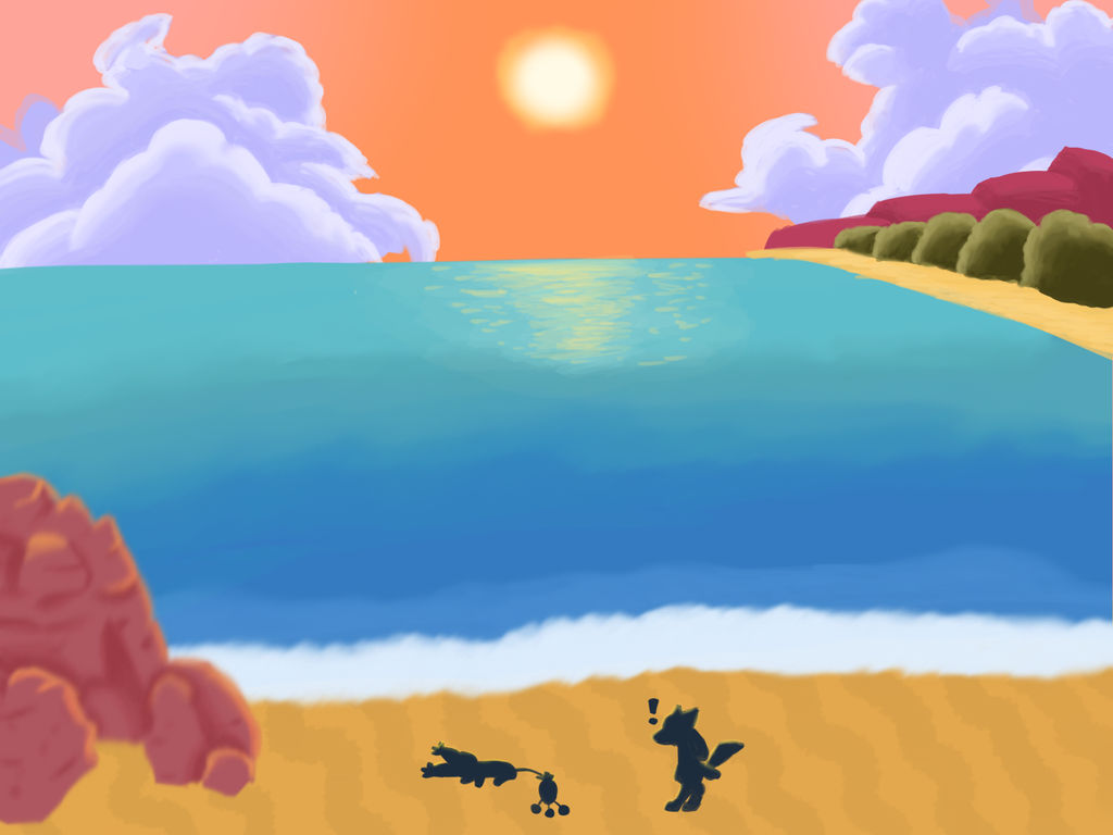 On The Beach At Dusk Pokemon Mystery Dungeon By Flywater500 On