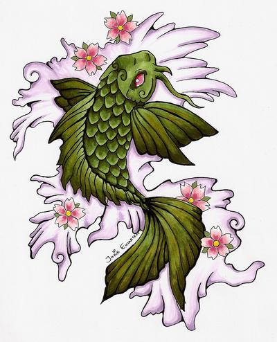 Green koi tattoo by nimbusz on deviantart for Green koi fish