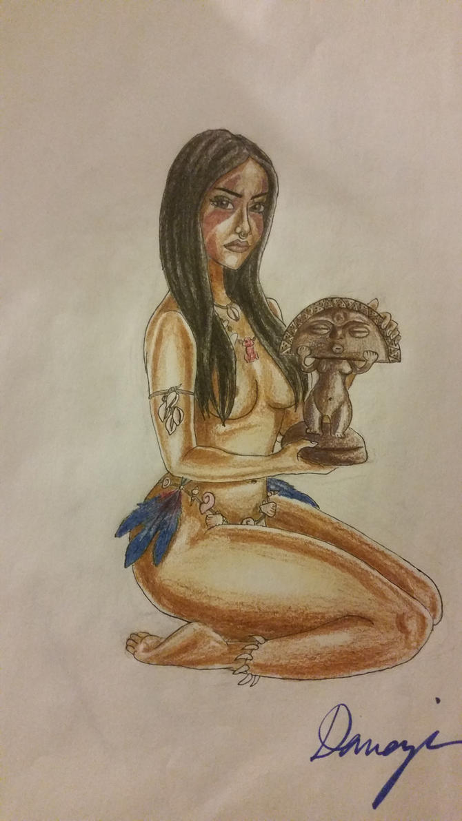Taino Girl and Moon Goddess by ThatDamnHemophage