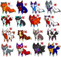 Closed FREE fox adoptables by W0lfArtz