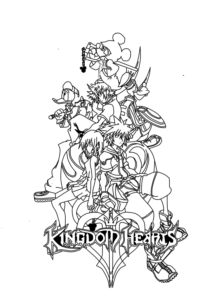 Kingdom Hearts Lineart : Kingdom hearts cover lineart by bradxd on deviantart