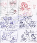 PWMP CD Booklet Back: sketches