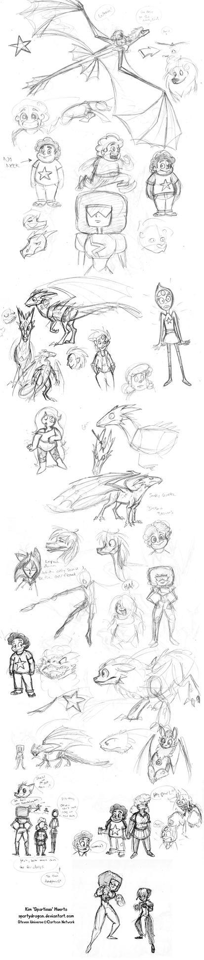 Big Giant Steven Universe Sketchdump by spartydragon