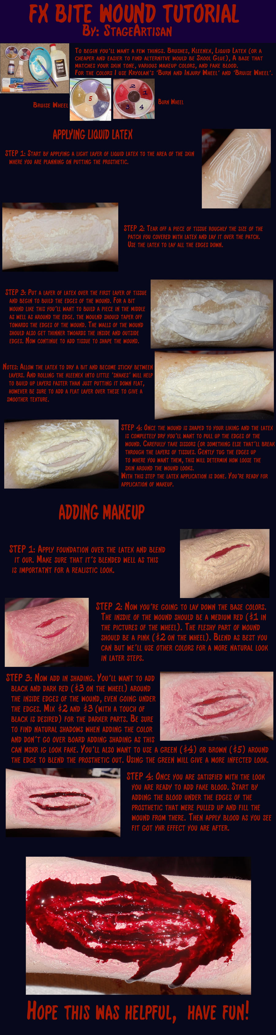 FX bite wound tutorial by StageArtisan