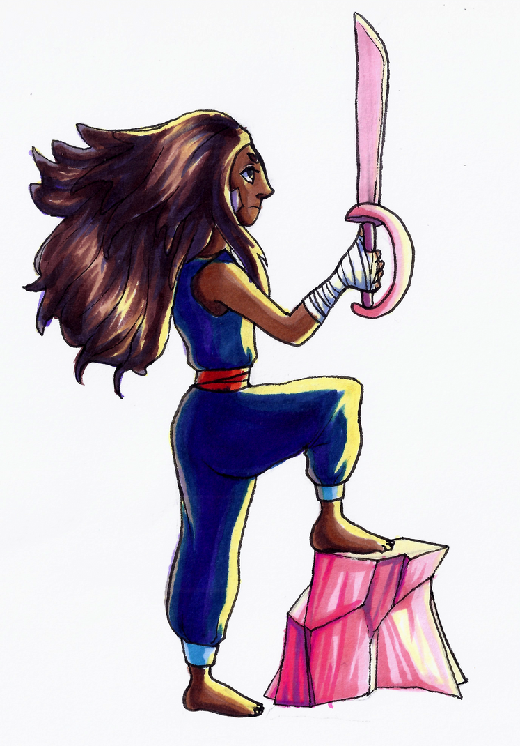 I wanted to draw Connie in a sunset scene, but at the moment, I can't seem to find my watercolor paint D: Anyway, this is Connie from Steven Universe standing in a pose of power, as I like to call ...