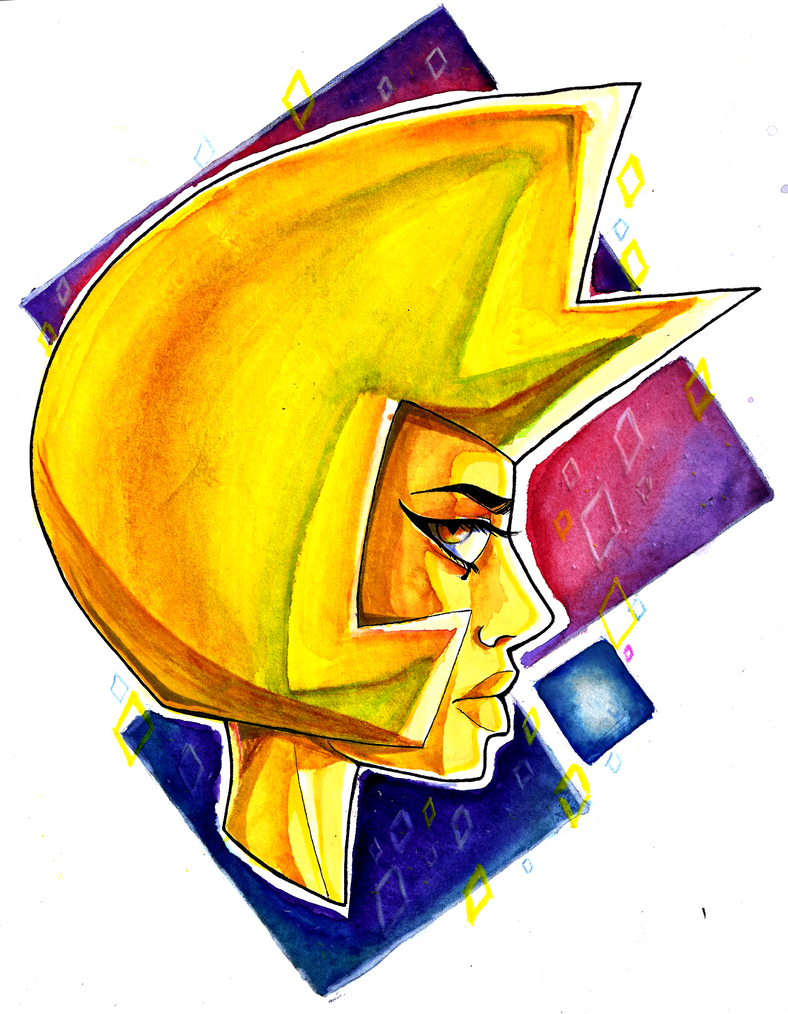 "This is Yellow Diamond from Steven universe. I wanted to draw her with an expression that basically says ""I dont have time for this"" Also, more watercolor practice ^^ (Well actually, I used waterco..."