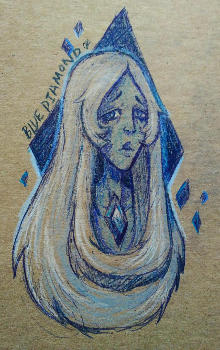 I finally got the motivation to draw something right after I finished my math homework today. I drew Blue Diamond from Steven Universe on the back of my math notebook  using an erasable blue p...