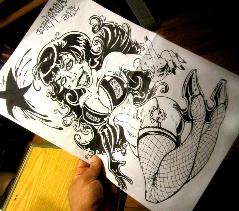 Bettie Page in Sharpie Markers by darkriddle1