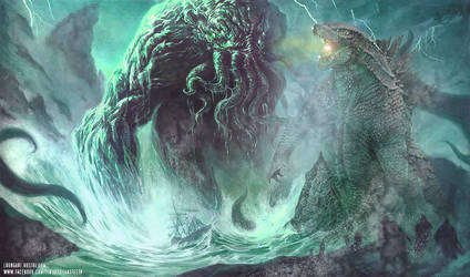Godzilla and Cthulhu Rumble by darkriddle1