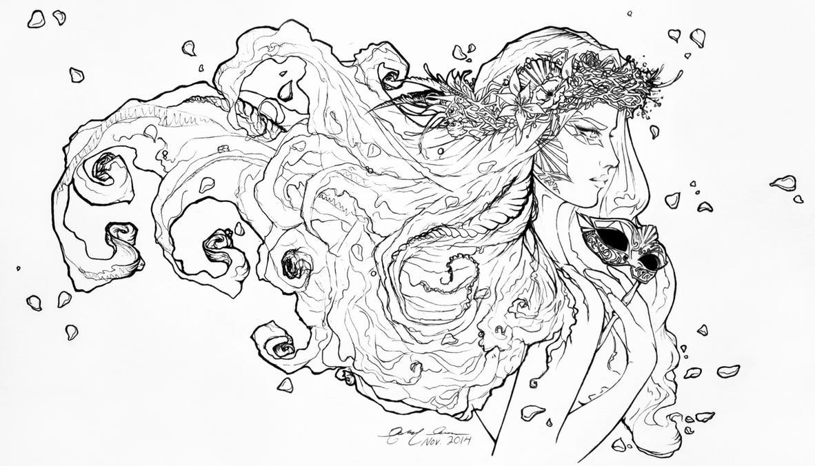 Venetian Carnevale Mermaid Lineart by FirenzeLotus22