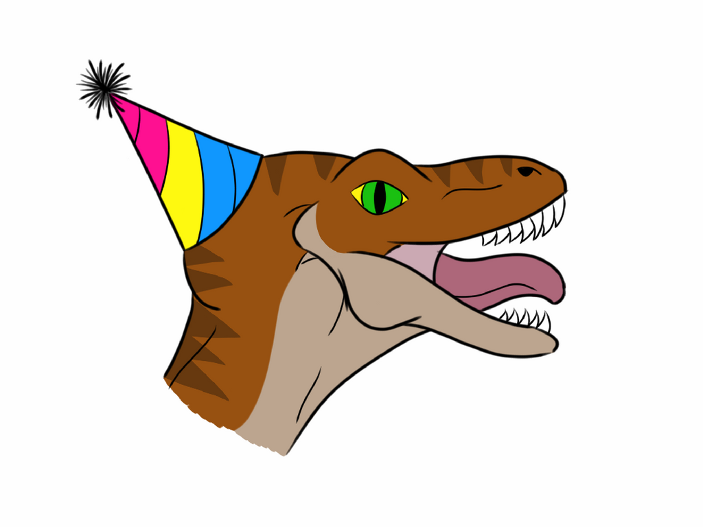 Pansexual Party Raptor by Rhiallom
