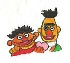 Ernie and Bert with a valentine by brazilianferalcat