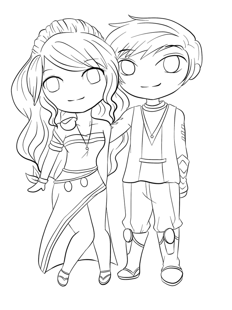 Lineart Chibi Couple by RueYumi