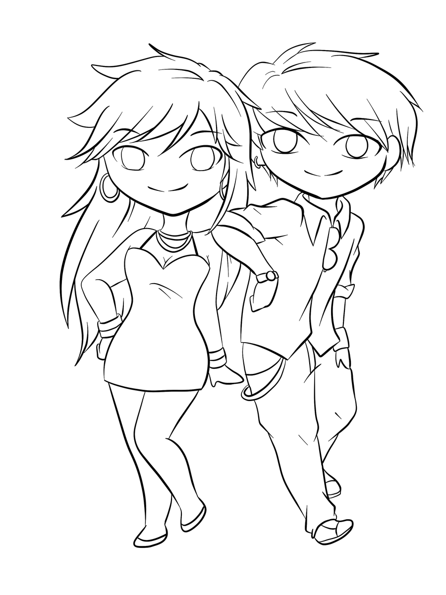 Lineart: Chibi Couple 2 by RueYumi on DeviantArt