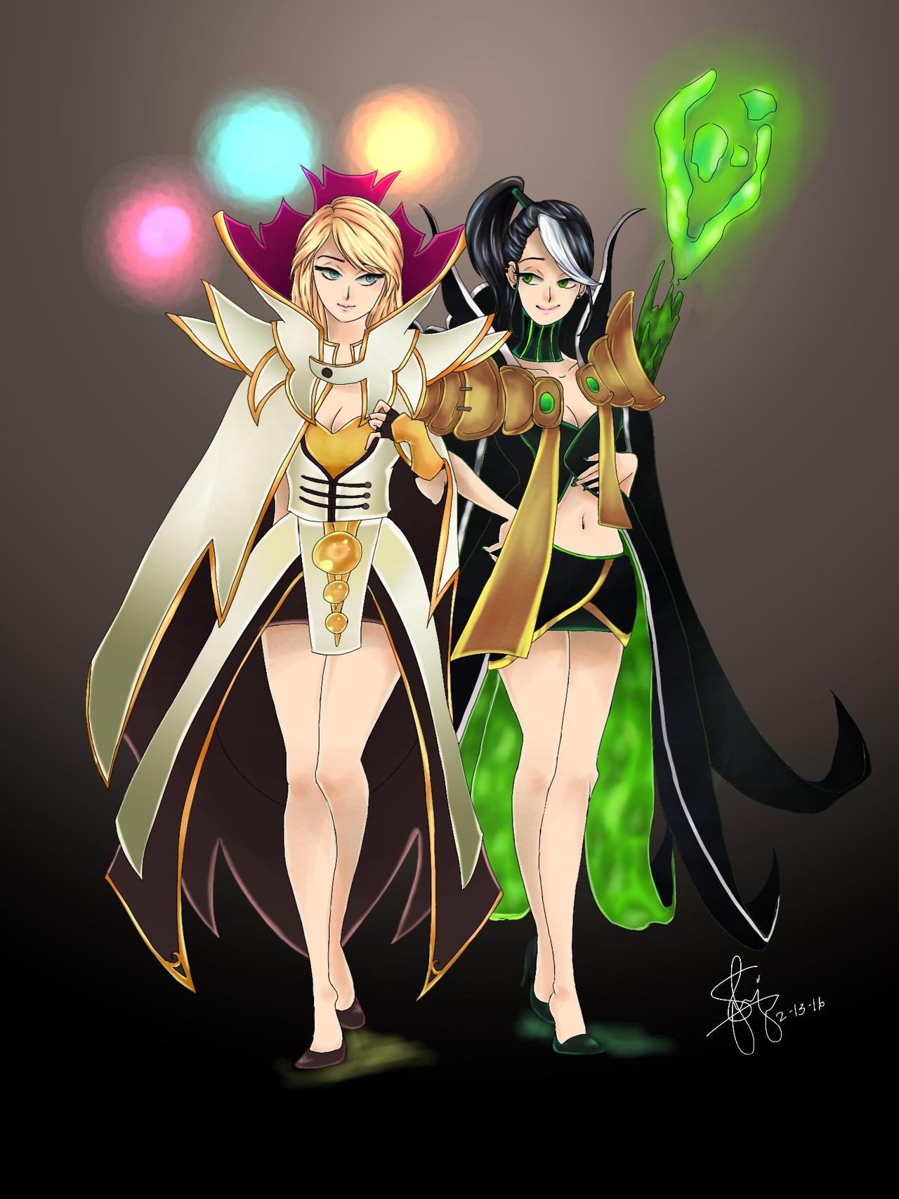 Invoker and Rubick - Female versions by RueYumi on DeviantArt