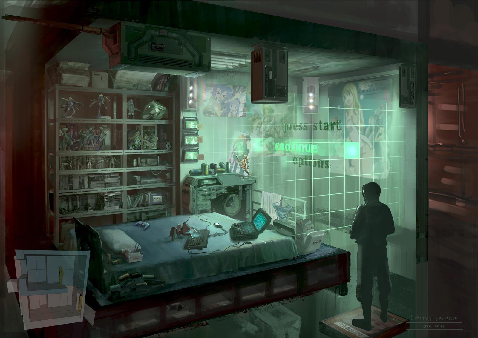 Cyberpunk otaku place bedroom by dsorokin755 on deviantart for Chambre otaku