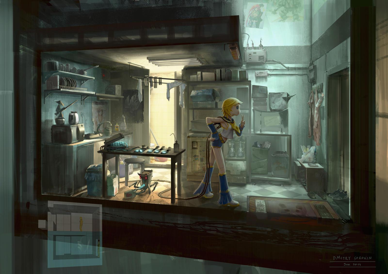 Cyberpunk otaku place kitchen by dsorokin755 on deviantart for Cyberpunk interior design