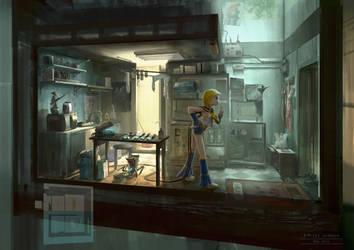 Cyberpunk. Otaku Place, Kitchen by dsorokin755