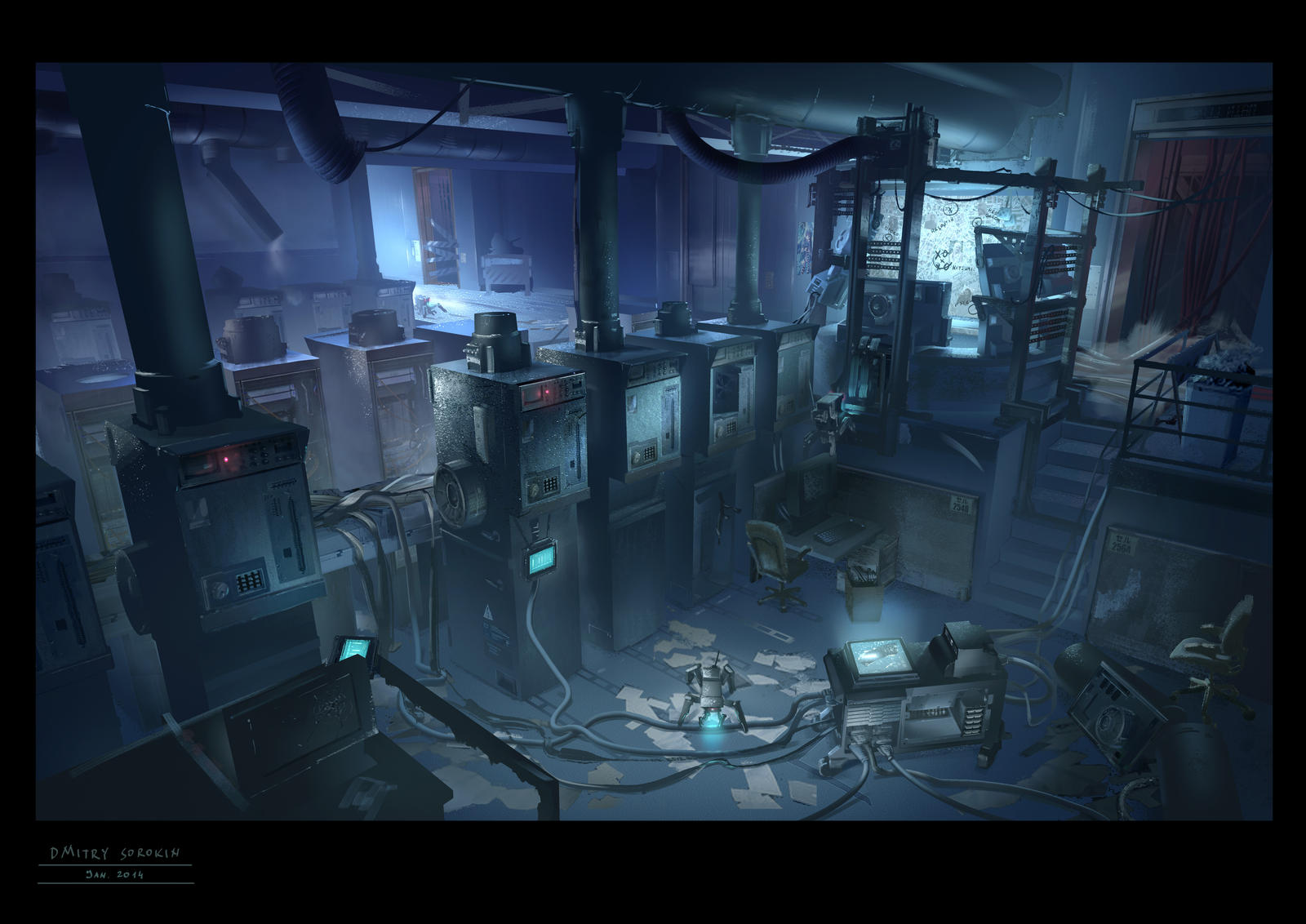 Hacker home concept game environment for a cyberpunk mmo for Cyberpunk interior design
