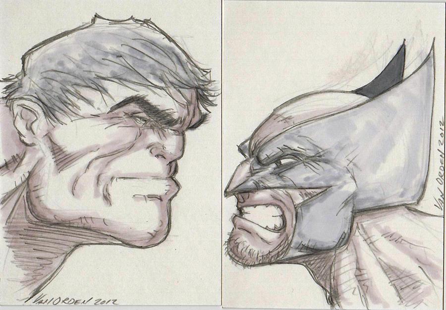 Hulk vs Wolverine Sketch Card!! by MikeVanOrden on DeviantArt