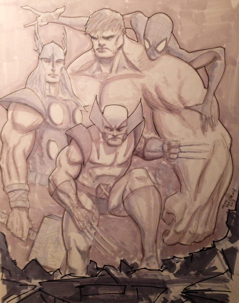 Hulk, Wolvie, Thor and Spidey by MikeVanOrden