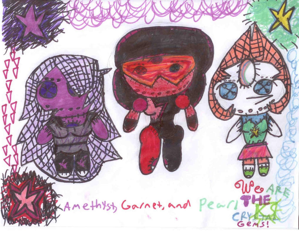 Amethyst, Garnet, and Pearl Rag Dolls by AgentofMischief