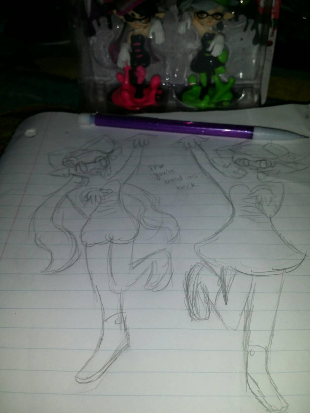 take a horrible minute sketch of the Squid sisters by rockythebunny13