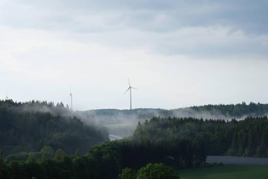 Stock: Misty wind turbines
