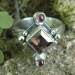 Pink n Brown Art Nouveau Ring