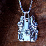 Spoon Pendant with Blue Topaz