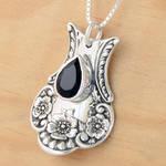 Spoon Pendant w Black Spinel