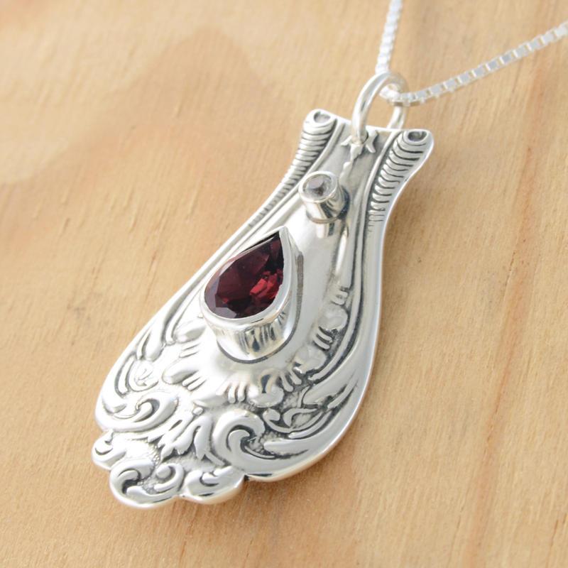 Spoon Pendant Garnet Sapphire by metalsmitten