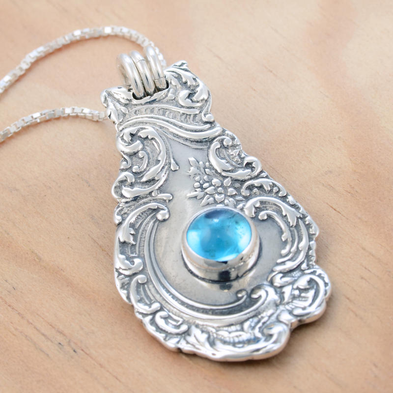 Spoon Pendant w Blue Topaz 3 by metalsmitten